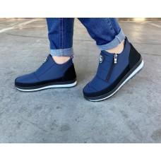 Ботинки женские зимние синие на молнию