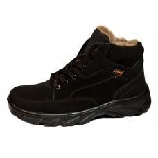 Мужские зимние ботинки из нубука - прошитые
